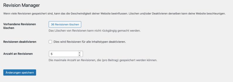 Frühjahrsputz Website - Revisionen entfernen