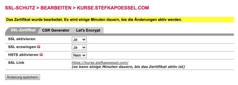 Einrichtung eines SSL-Zertifikats und dessen Fehlerbehebung