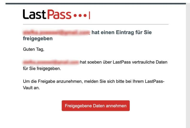 Lastpass Passwort freigeben