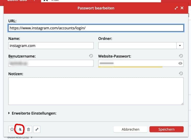 Lastpass Passwort teilen